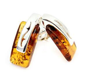 SilverAmber-Jewellery-Studs-Earrings-GL036-Cognac-Stones-amp-925-Sterling-Silver
