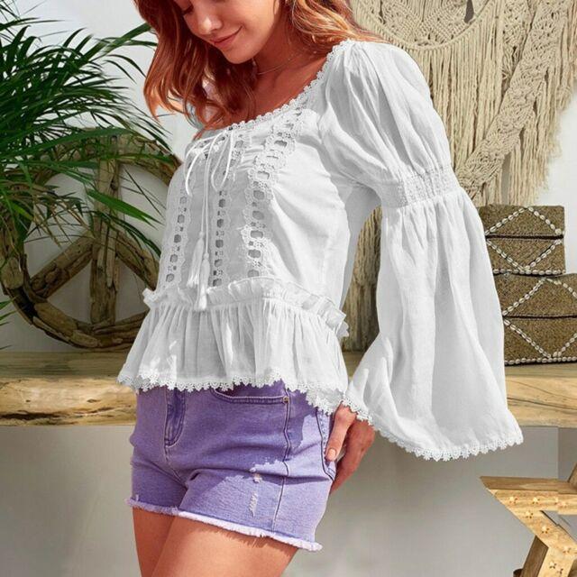 INC Womens Boho Lace Inset Blouse Peasant Top Shirt BHFO 8163