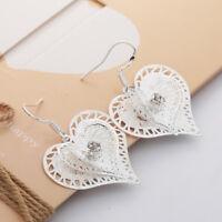 Nobby 925 Silver Filled Heart Shape White Topaz Gemstone Hook Dangle Earrings