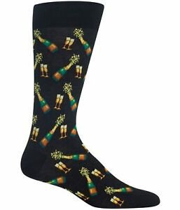 Hot Sox Men's Food and Booze Novelty Casual Crew Socks, Champagne Bottles