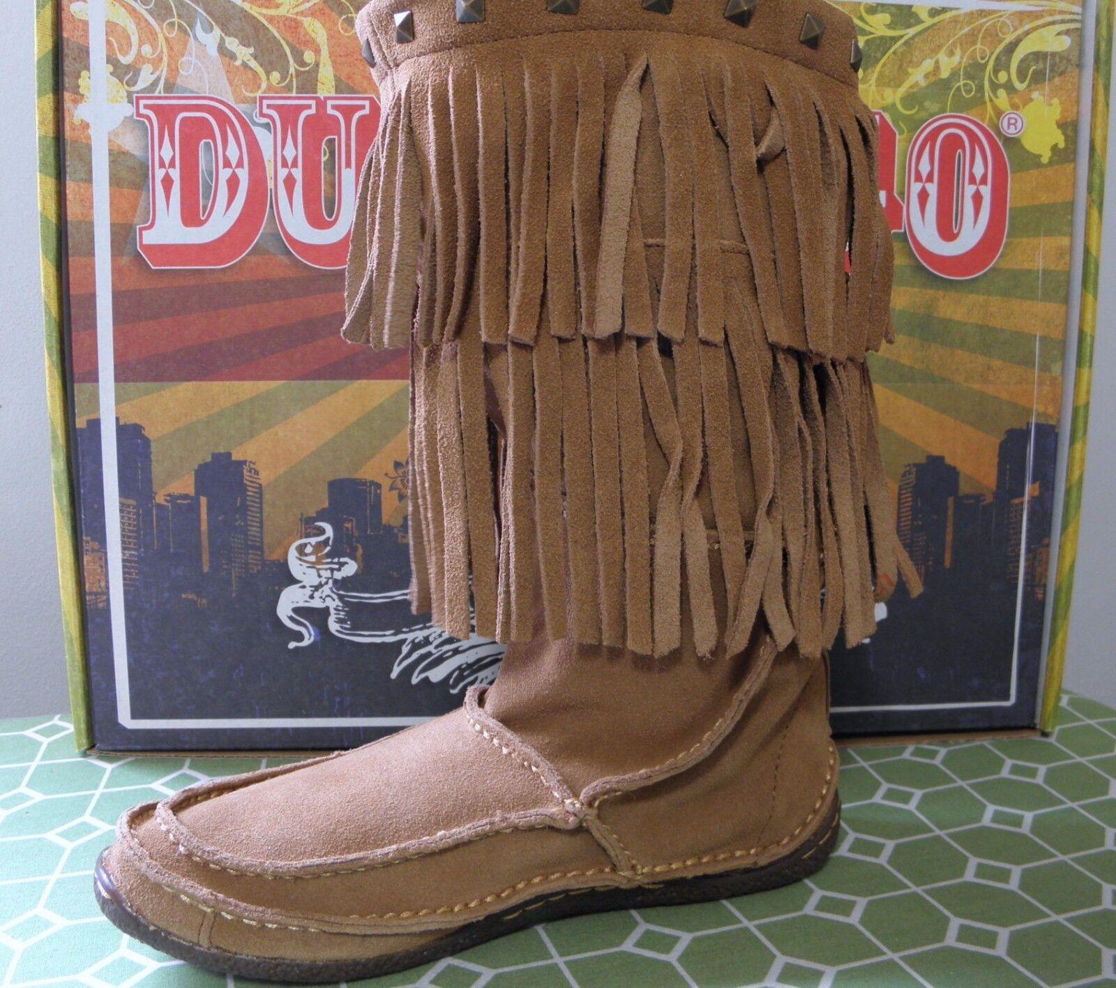 DURANGO City Santa Fe DCRD101 Suede Leder Fringe Moccasin Stiefel Größe 6 M