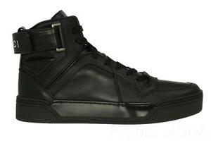 NEW-GUCCI-BLACK-LEATHER-LOGO-HIGH-TOP-ANKLE-STRAPS-SNEAKERS-BOOTS-SHOES-40-US-10