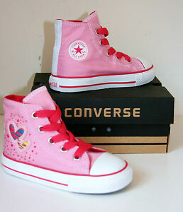 6d0f935274e5 Kid Toddler Girl CONVERSE All Star PINK HEART HI TOP Trainers Boots ...