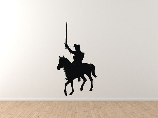 Historical Medievil Era - Knight on horse with sword - Vinyl Wall Decal