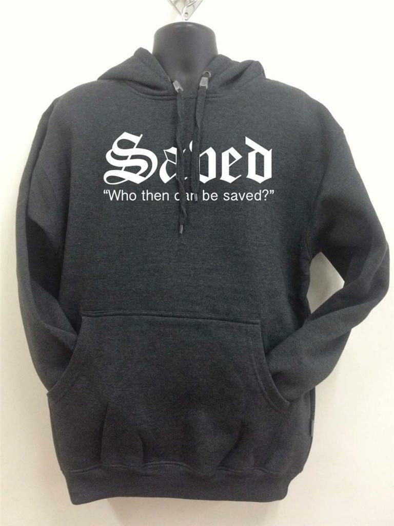 NW MEN'S PRINTED SAVED FLEECE CHRISTIAN RELIGIOUS BIBLE JESUS CHARCOAL HOODIE