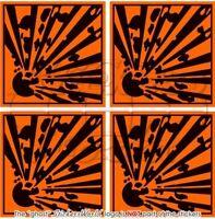 "EXPLOSIVE Explosion Danger Symbol Safety Warning 2""(50mm) Vinyl Sticker-Decal x4"