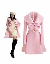 Womens Slim Fit Ruffle Winter Woolen Jacket Coat Overcoat Long Jacket