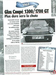 Glas-Coupe-1300-1700-GT-4-Cyl-Germany-1963-Car-Auto-Retro-FICHE-FRANCE