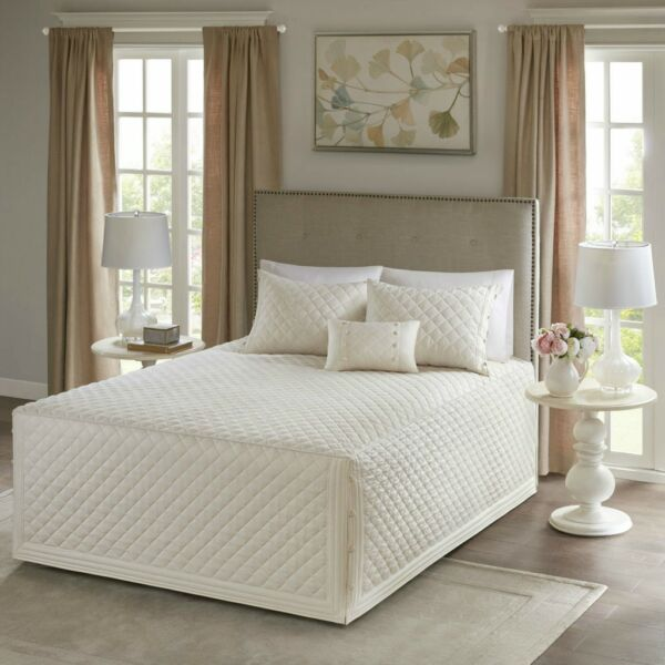 """100% Cotton Ivory Khaki Diamond Quilted Bedspread 24"""" Drop 4 Pcs Cal King Queen"""