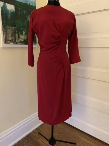 Foxy Vintage 1950's Raspberry Red Ruched Cocktail