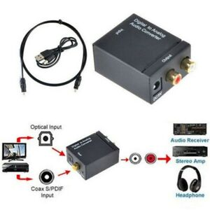 With Fiber Cable Digital Optical Coax to Analog RCA L/R Audio