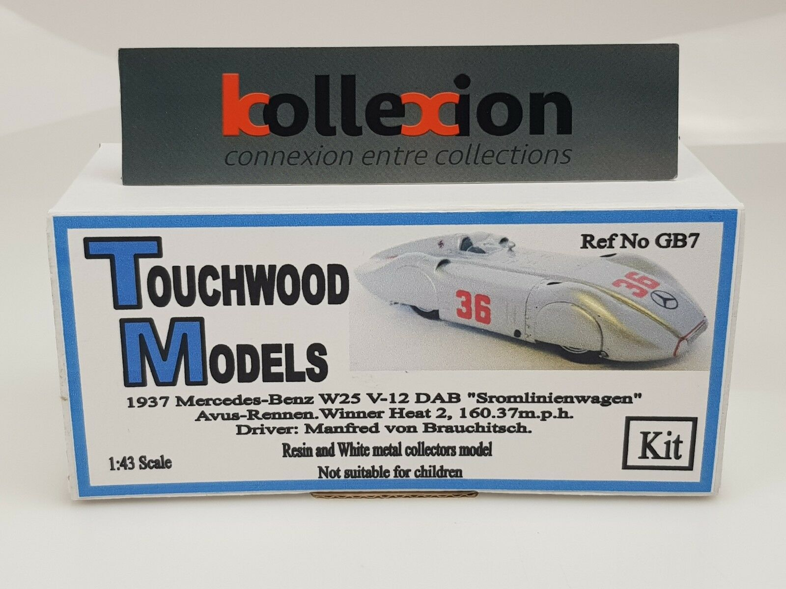 TOUCHWOOD MODELS TWCGB7 MERCEDES BENZ W125 STROMIENEN Record Avus 1937 Kit 1.43