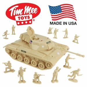 Tim-Mee-Toy-Walker-Bulldog-Tank-Playset-Tan-13pc-Made-in-USA