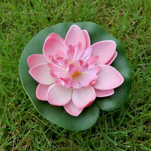 5pcs 10cm Faux Floating Water Lily Artificial Lotus Flower Lily Pad Pond Decor