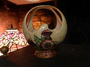 Vintage-KENSINGTON-CERAMIC-BASKET-VASE-Lustreware-Lustre-Lovely-1930s-Art-Deco