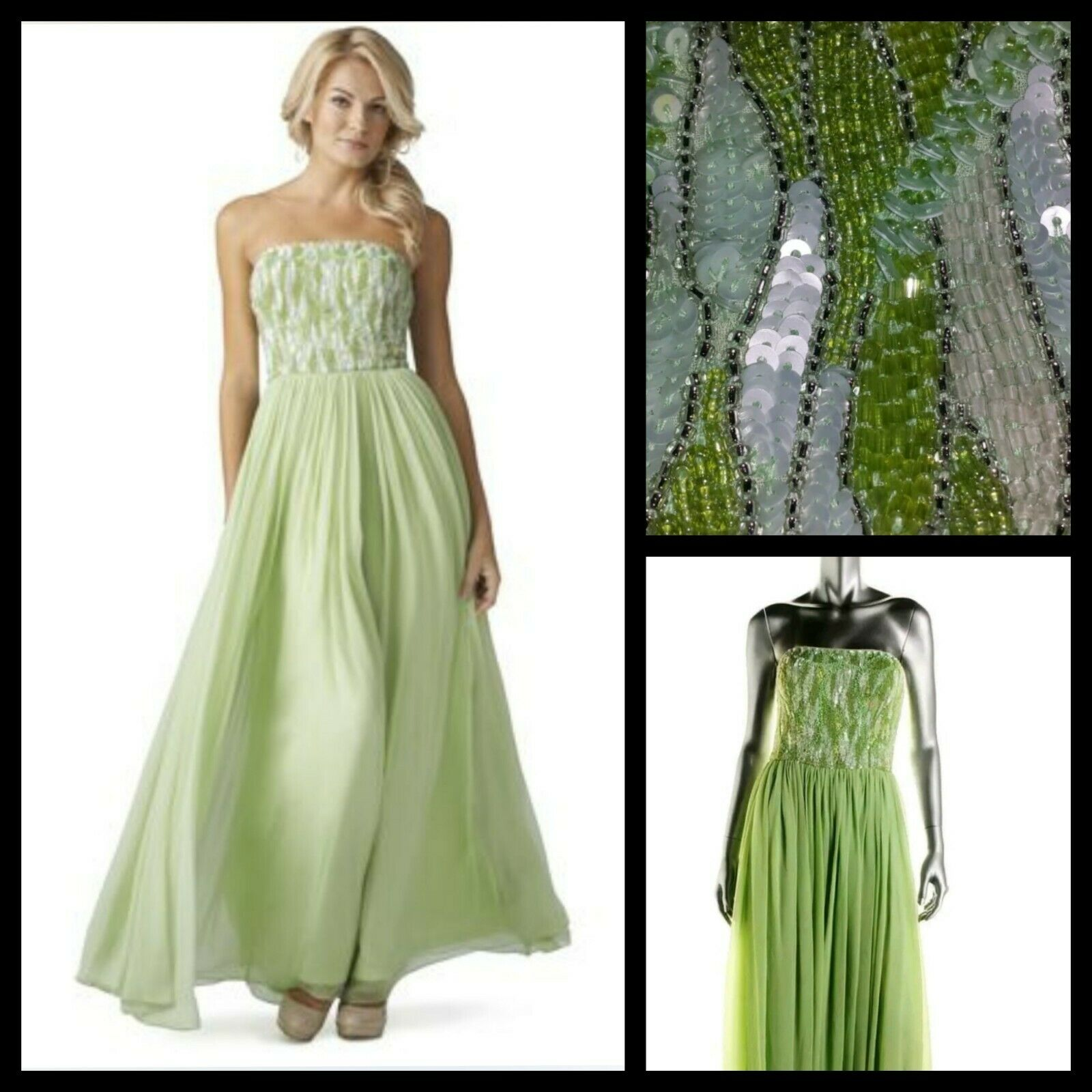 440 AIDAN MATTOX Green Embellished Beaded Strapless Formal Gown  4  M3020