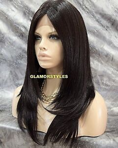 Free Part Lace Front Full Wig Straight Long Layered Jet Black Heat Ok Hair Piece