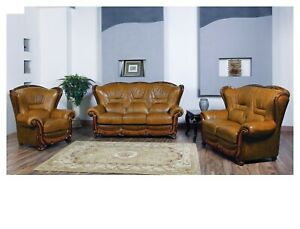 Details about ESF 100 Living Room Set Sofa, Loveseat and Chair in Genuine  Italian Leather