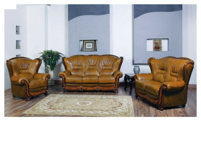 ESF 100 Living Room Set Sofa, Loveseat and Chair in Genuine Italian Leather