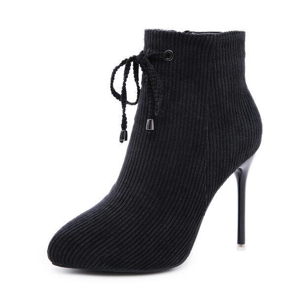 stivali stivaletti eleganti stiletto 10 cm nero tronchetto eleganti stivaletti simil pelle 1534 e2399f