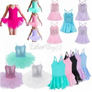 Girls-Kids-Ballet-Leotard-Dance-Dress-Gymnastics-Dancewear-Tutu-Skirt-Costume
