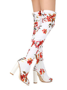 New-Women-Floral-Peep-Toe-Thigh-High-Chunky-Heel-Boot-17881-By-Cape-Robbin