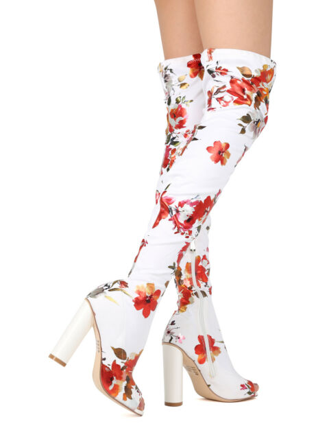 New Women Floral Peep Toe Thigh High Chunky Heel Boot - 17881 By Cape Robbin