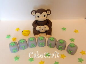Jungle Monkey Handmade edible birthday cake decorations ...