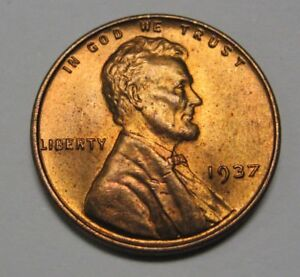 1937 Lincoln Wheat Cent In The Ch Bu Range Nice Coins Dutch Auction Ebay