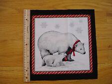 "Christmas Polar Bear Cub Red Scarf Cotton Quilt Fabric Block 10"" x 10"""