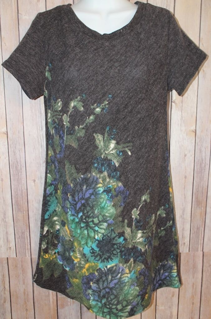Francesca's Collection Women's Small Short Sleeve Dress Charcoal bluee Floral