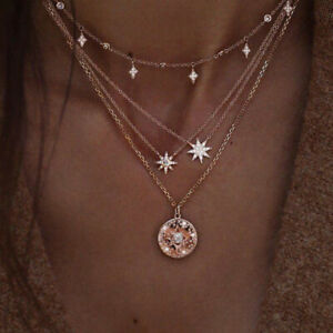 Boho-Multi-layer-Gold-Plated-Chain-Choker-Necklace-Star-Moon-Pendant-Jewellery