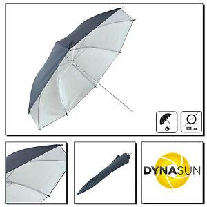 DynaSun-KU43SR-109cm-Ombrello-da-Studio-Argento-Nero-per-Studio-Foto-e-Video
