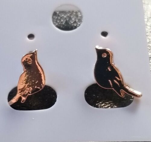 Rose Gold Plated Little Sparrow Stud Earrings Gift For Bird Animal Lover.