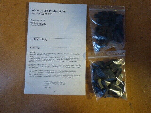 Supremacy Expansion  Warlords and Pirates of the Neutral Zone COMPLETE no box