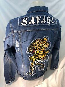 7fec07f26dbe2 MENS VICTORIOUS DENIM Jacket TIGER SAVAGE BLUE JEAN RIPPED DISTRESS ...