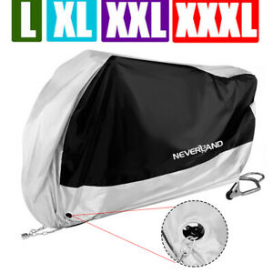M-XXXL-Waterproof-Motorcycle-Motorbike-Scooter-Bike-Cover-Outdoor-Black-amp-Silver