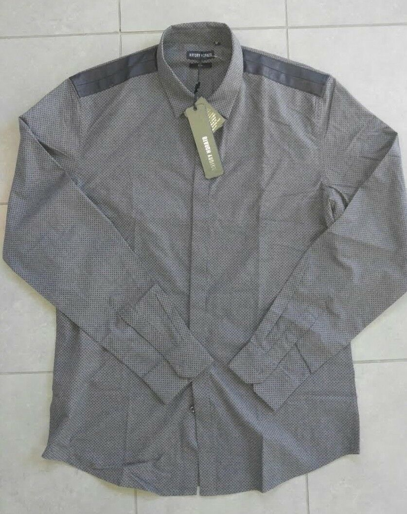 Antony Morato  Escape 2 L S button down shirt dark grey XL NWT sty  MMSL00250