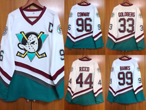 e910bc795 The Mighty Ducks Movie Jersey 96 Charlie Conway 99 Adam Banks 66 ...