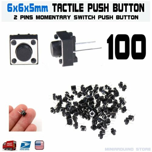 100Pcs 6x6x5mm 2 Pin PCB Momentary Tactile Tact Push Button Switch DIP Micro