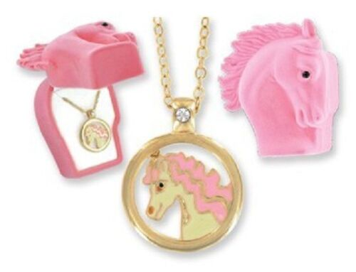 New Pretty Pony Pendant in Pink Horse Girl/'s Gift Box with gold plated chain