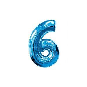 """1 X 34 """"ballon Feuille Décor Bleu Nombre '6 ' - (blue6) Des Friandises AiméEs De Tous"""