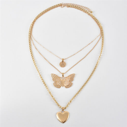 Butterfly Heart Pendant Necklace for Women Boho Triple Layered Chain Necklaces