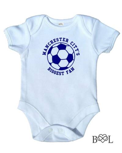 Baby Boy/'s Babygrow Bodysuit Vest Manchester City Biggest Fan Football Gift MCFC
