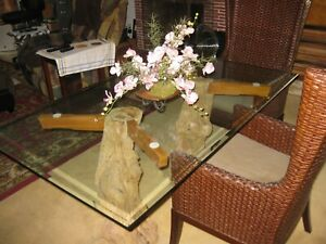 Details About Custom Made Gl Dining Room Table On Tree Trunk Legs Reduced Price