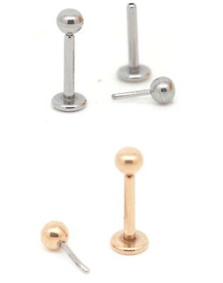 3mm Round Gem  Push Pin Threadless Labret Studs Lip Monroe Tragus Bar