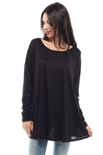 New Dolman Piko Style Tunic Top Scoop Neck Solid Ruched Long Sleeve USA S M L