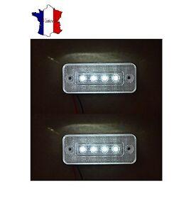 2X-12V-4-LED-FEUX-DE-GABARIT-LATERAUX-BLANC-CAMION-CARAVANE-BUS-VAN-REMORQUE