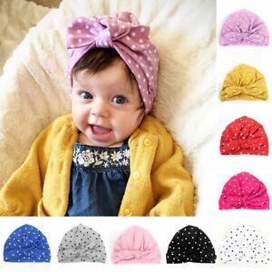 Velvet Cotton Newborn Toddler Kids Baby Boy Girl Bow Knot Turban Beanie Hat Cap