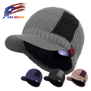 51cf4c96a2a Novelty Two Tone Knit Visor Beanie Fall Winter Brimmed Hat Fur Lined ...